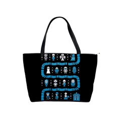 Who Is Outside Ugly Holiday Christmas Black Background Shoulder Handbags