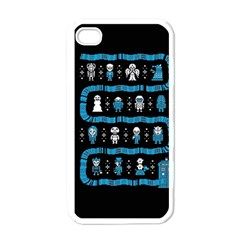 Who Is Outside Ugly Holiday Christmas Black Background Apple iPhone 4 Case (White)