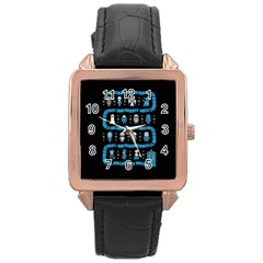Who Is Outside Ugly Holiday Christmas Black Background Rose Gold Leather Watch