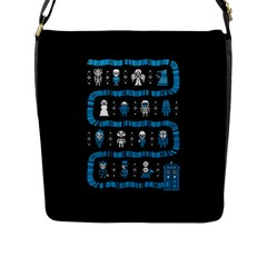Who Is Outside Ugly Holiday Christmas Black Background Flap Messenger Bag (L)