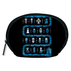 Who Is Outside Ugly Holiday Christmas Black Background Accessory Pouches (Medium)