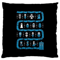 Who Is Outside Ugly Holiday Christmas Black Background Large Flano Cushion Case (two Sides)