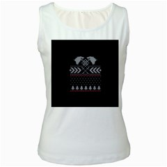 Winter Is Coming Game Of Thrones Ugly Christmas Black Background Women s White Tank Top