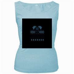 Winter Is Coming Game Of Thrones Ugly Christmas Black Background Women s Baby Blue Tank Top