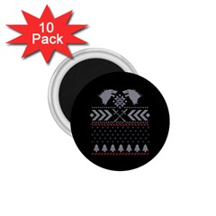 Winter Is Coming Game Of Thrones Ugly Christmas Black Background 1 75  Magnets (10 Pack)