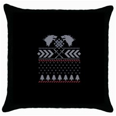 Winter Is Coming Game Of Thrones Ugly Christmas Black Background Throw Pillow Case (black)