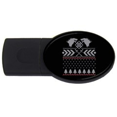 Winter Is Coming Game Of Thrones Ugly Christmas Black Background USB Flash Drive Oval (2 GB)