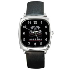 Winter Is Coming Game Of Thrones Ugly Christmas Black Background Square Metal Watch