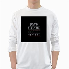 Winter Is Coming Game Of Thrones Ugly Christmas Black Background White Long Sleeve T-Shirts