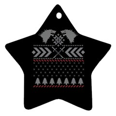 Winter Is Coming Game Of Thrones Ugly Christmas Black Background Star Ornament (Two Sides)