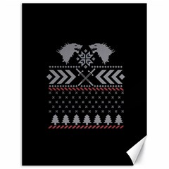 Winter Is Coming Game Of Thrones Ugly Christmas Black Background Canvas 18  X 24