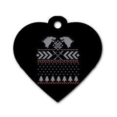 Winter Is Coming Game Of Thrones Ugly Christmas Black Background Dog Tag Heart (One Side)