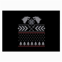 Winter Is Coming Game Of Thrones Ugly Christmas Black Background Large Glasses Cloth (2 Side)