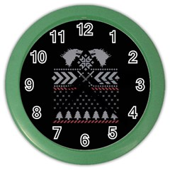 Winter Is Coming Game Of Thrones Ugly Christmas Black Background Color Wall Clocks