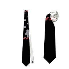 Winter Is Coming Game Of Thrones Ugly Christmas Black Background Neckties (One Side)
