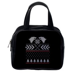 Winter Is Coming Game Of Thrones Ugly Christmas Black Background Classic Handbags (One Side)