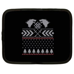 Winter Is Coming Game Of Thrones Ugly Christmas Black Background Netbook Case (XXL)