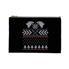 Winter Is Coming Game Of Thrones Ugly Christmas Black Background Cosmetic Bag (large)