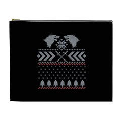 Winter Is Coming Game Of Thrones Ugly Christmas Black Background Cosmetic Bag (XL)
