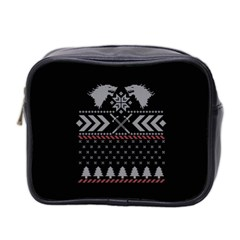 Winter Is Coming Game Of Thrones Ugly Christmas Black Background Mini Toiletries Bag 2-Side