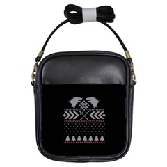 Winter Is Coming Game Of Thrones Ugly Christmas Black Background Girls Sling Bags