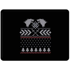 Winter Is Coming Game Of Thrones Ugly Christmas Black Background Fleece Blanket (Large)