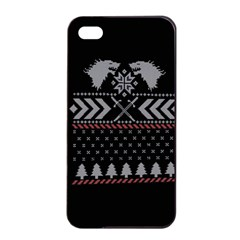 Winter Is Coming Game Of Thrones Ugly Christmas Black Background Apple Iphone 4/4s Seamless Case (black)