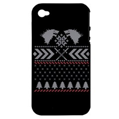 Winter Is Coming Game Of Thrones Ugly Christmas Black Background Apple Iphone 4/4s Hardshell Case (pc+silicone)