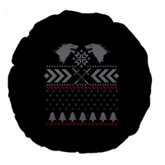 Winter Is Coming Game Of Thrones Ugly Christmas Black Background Large 18  Premium Round Cushions