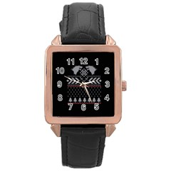 Winter Is Coming Game Of Thrones Ugly Christmas Black Background Rose Gold Leather Watch