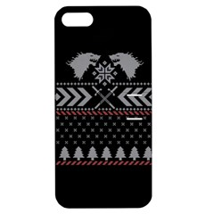 Winter Is Coming Game Of Thrones Ugly Christmas Black Background Apple iPhone 5 Hardshell Case with Stand