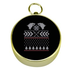 Winter Is Coming Game Of Thrones Ugly Christmas Black Background Gold Compasses