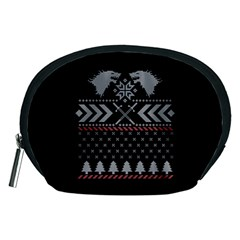 Winter Is Coming Game Of Thrones Ugly Christmas Black Background Accessory Pouches (Medium)