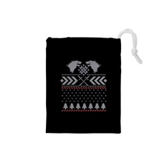 Winter Is Coming Game Of Thrones Ugly Christmas Black Background Drawstring Pouches (Small)