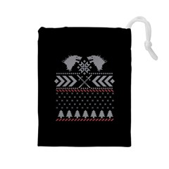 Winter Is Coming Game Of Thrones Ugly Christmas Black Background Drawstring Pouches (Large)