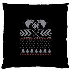 Winter Is Coming Game Of Thrones Ugly Christmas Black Background Large Flano Cushion Case (One Side)
