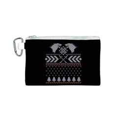 Winter Is Coming Game Of Thrones Ugly Christmas Black Background Canvas Cosmetic Bag (S)
