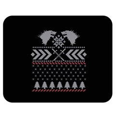 Winter Is Coming Game Of Thrones Ugly Christmas Black Background Double Sided Flano Blanket (Medium)