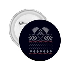 Winter Is Coming Game Of Thrones Ugly Christmas Blue Background 2 25  Buttons