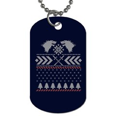 Winter Is Coming Game Of Thrones Ugly Christmas Blue Background Dog Tag (two Sides)