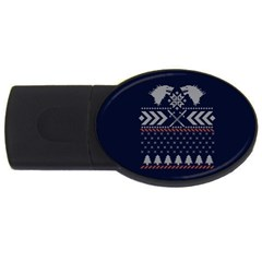 Winter Is Coming Game Of Thrones Ugly Christmas Blue Background Usb Flash Drive Oval (4 Gb)