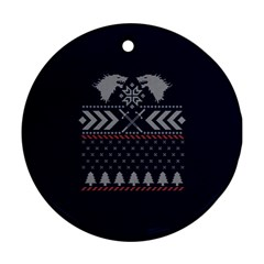Winter Is Coming Game Of Thrones Ugly Christmas Blue Background Round Ornament (two Sides)