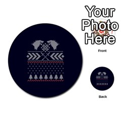 Winter Is Coming Game Of Thrones Ugly Christmas Blue Background Multi Purpose Cards (round)