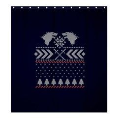 Winter Is Coming Game Of Thrones Ugly Christmas Blue Background Shower Curtain 66  X 72  (large)