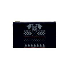 Winter Is Coming Game Of Thrones Ugly Christmas Blue Background Cosmetic Bag (small)