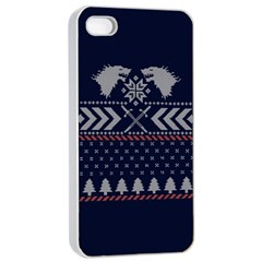 Winter Is Coming Game Of Thrones Ugly Christmas Blue Background Apple Iphone 4/4s Seamless Case (white)