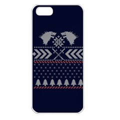 Winter Is Coming Game Of Thrones Ugly Christmas Blue Background Apple Iphone 5 Seamless Case (white)