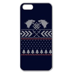 Winter Is Coming Game Of Thrones Ugly Christmas Blue Background Apple Seamless Iphone 5 Case (clear)