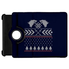 Winter Is Coming Game Of Thrones Ugly Christmas Blue Background Kindle Fire Hd Flip 360 Case
