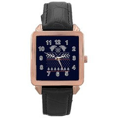 Winter Is Coming Game Of Thrones Ugly Christmas Blue Background Rose Gold Leather Watch